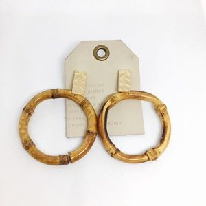 NWT Anthropologie Bamboo Circle Earrings
